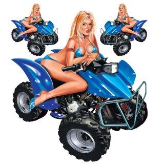Aufkleber Set Blondine Quad 16 x15 cm Sexy Babe Pin Up Girl Decal Blau Hot