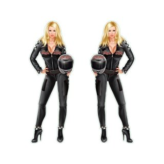 Aufkleber Set Sticker Katharina Kuhlmann im Renn-Anzug Race Outfit Sexy Pin Up