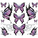 AUFKLEBER SORTIMENT DECAL SCHMETTERLINGE BUTTERFLY PINK...