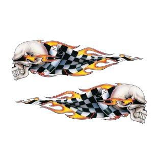 Aufkleber Set Checkered Skulls Totenkopf Flammen Flagge 8,5x2,5cm Airbrush Helm