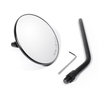 Back Mirror Black Steel Custom 3 Round with 4 Standard Stem, for Japanese bikes