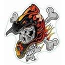 Aufkleber Totenkopf mit Helm Helmet Skull Sticker 7 x 6...