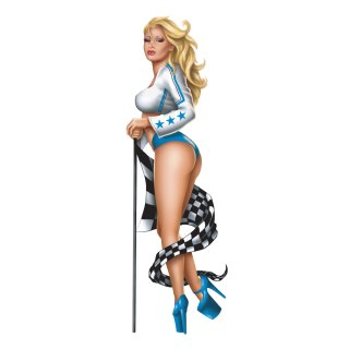 Aufkleber Blondine Pin Up Girl Rennfahrer Blau 20x6cm Blue Race Babe Decal