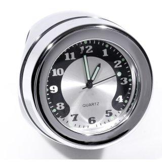"""Lenkeruhr 1-1/4"""" 32mm Metall Chrom Big Motorrad Uhr großes Zifferblatt Harley"""