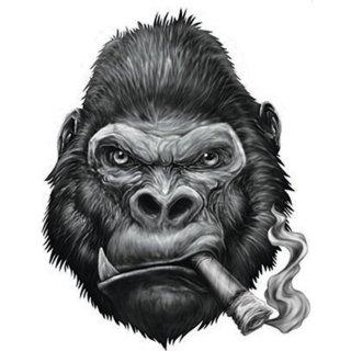 Aufkleber Gorilla mit Joint Mini Sticker Helm 8x5 cm abartig Affe