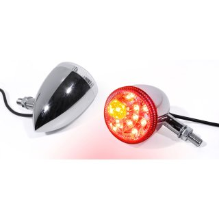 LED Rücklicht Bremslicht Blinker Multifunktion Chrom Motorrad Universal Harley
