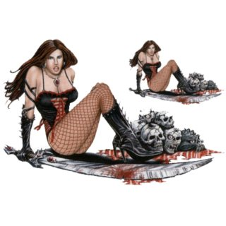 Aufkleber Set Death Queen Pin up Girl Totenkopf Sexy Todeskönigin Blut Helm XS