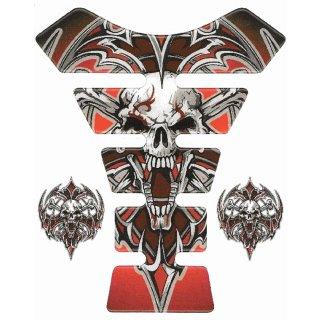 3D Gel Tankprotektor Tribal Totenkopf Rot Tank Pad Schutz Red Skull Universal