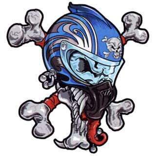 Aufkleber Set Totenkopf Helm mit Knochen 16x14cm Sportbike Helmet Skull Decal