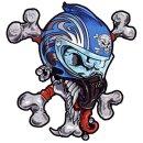Aufkleber Set Totenkopf Helm mit Knochen 16x14cm...