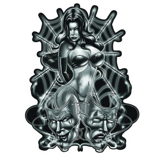 Sexy Spinnen Pin Up Girl Airbrush Aufkleber Spider Women Decal Tank Helm Quad