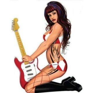 Rock Pin Up Girl mit Gitarre und Tattoos Aufkleber Ready to Rock Decal Sexy Helm