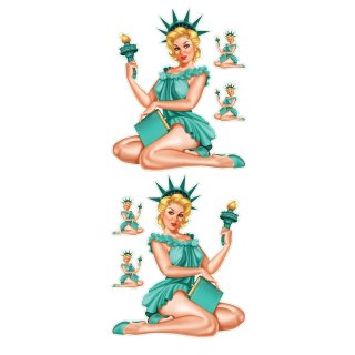 Aufkleber Set Vintage Liberty Pin Up Girl Sexy USA New York Blond Decal Value XL