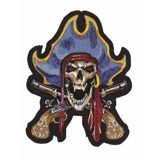 Pirat Kapitän Aufnäher 16x13 cm Pirate Captian Patch Pistolen Gefährlich Lässig