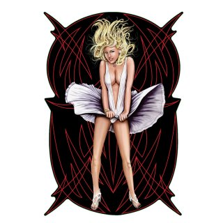 Aufkleber Pinstripe Marilyn Pin Up Girl Sexy Monroe Blond Fast nackt Decal Helm