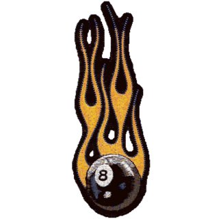 Brennender 8-Ball Aufnäher 15x5cm Billard Kugel Flaming 8 Ball Patch Flammen Top