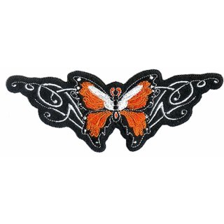 Oranger Schmetterling Aufnäher 15x5 cm Butterfly Patch Tribal Weste Rücken Jacke
