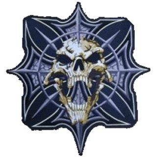 Ghotischer Totenkopf Aufnäher XL 34x31 cm Ghotic Skull Patch Iron Cross Kreuz