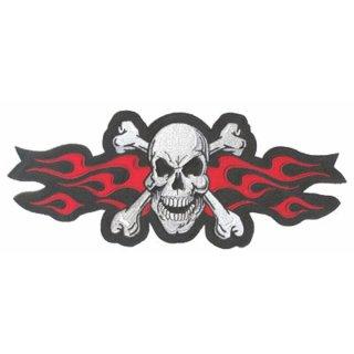 Totenkopf mit roten Flammen Aufnäher 31x14 cm Skull Red Flames Patch