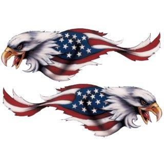 Aufkleber Set USA Eagle Adler Adlerkopf 8 x 2,5 cm Helm Trike Neu