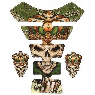 3D Gel Tankprotektor Zocker Totenkopf Tank Pad Tankschutz Money Skull Krone King