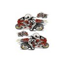 Aufkleber Set Skelett auf Streetfighter Rot 14x7cm Red...