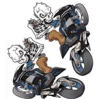 Aufkleber Set Streetfighter Totenkopf Schwarz Wheelie Skull Yamaha Honda Suzuki