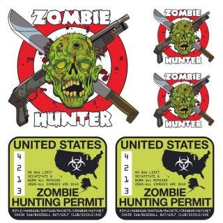 Aufkleber Set USA Zombie Jagderlaubnis Hunter Kit Sticker 12cm Jäger Jagdschein