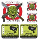 Aufkleber Set USA Zombie Jagderlaubnis Hunter Kit Sticker...