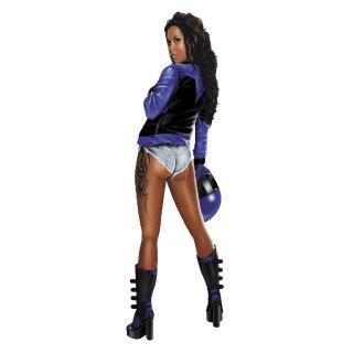 Aufkleber Motorad Pin Up Girl Blau 21x6cm Urban Biker Babe Blue Decal Sexy BMW
