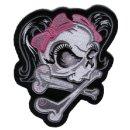 Totenkopf mit Rosa Schleife Aufnäher 11x13cm Pink...
