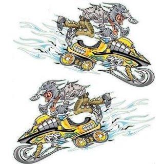 Aufkleber Scheemobil Schneekatze Snow Mobile Gelb Yellow Ski Irre Helm Decal Top