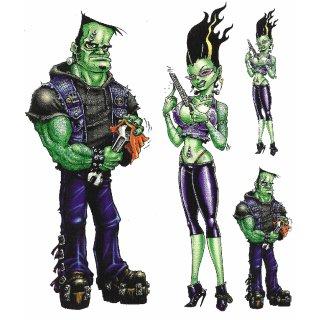 Aufkleber Set Frankenstein Pärchen Couple Grün Irre Decal Sticker Geschenk idee