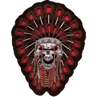 Indianer Totenkopf Aufnäher 18x14 cm Indian Skull Patch Blut Lethal Threat Weste