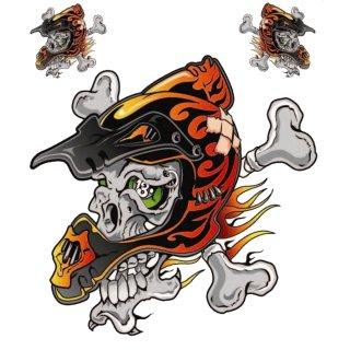 Aufkleber Set Totenkopf mit Helm 14x14cm Helmet Skull Decal Enduro Motocross Top