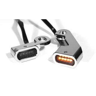 Mini LED Blinker Chrom Griff Lenkeramatur für Harley Softail 2015- Touring 2009-