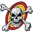 Aufkleber Totenkopf mit Knochen 11x12cm Skull N Bones...