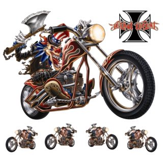 Clown Axt Chopper XL Aufkleber Set Ax Decal Joker Beil Irre Old School Harley HD