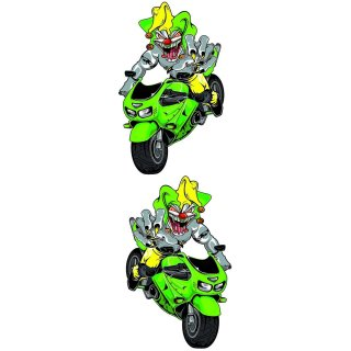 Aufkleber Set Joker auf Bike Grün 10x6cm Green Jester Sportbike Decal Kawasaki