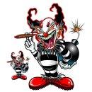 Aufkleber Set Bomb Clown Bombe Gemein Grässlich Ugly...