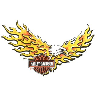 Aufkleber Harley Davidson brennender Adler 18 x 11 cm Flame Eagle Flammen HD