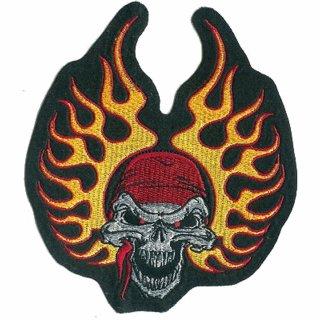 Totenkopf mit Flammen Bandana Aufnäher 13x15cm Flame Skull Patch Lethal Threat