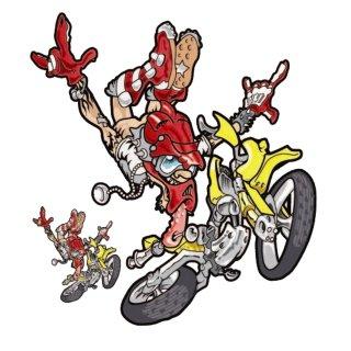 Nackt Hintern Enduro Gelb Aufkleber Set 17x14 Butt Naked Yellow Motocross Decal