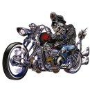 Aufkleber Biker mit Totenkopf auf Chopper 14 x11 cm Old...