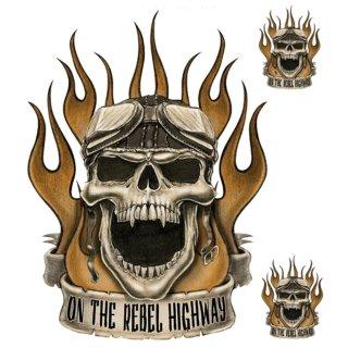 Toter Rebell Autobahn Aufkleber On the Rebel HWY Skull Totenkopf Airbrush Tank