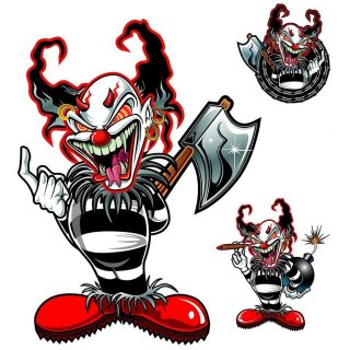 Aufkleber Set Killer Clown Sticker Set 15x12 cm Gemein Hässlich Axt Helm Grausam