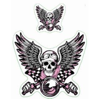 Aufkleber Set Oldtimer Retro Pink Biker Vintage Sticker Helm Skull Flügel 6x7 cm