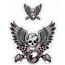 Aufkleber Set Oldtimer Retro Pink Biker Vintage Sticker...