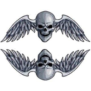 Aufkleber Set Totenkopf mit Flügel 8 x 3 cm Biker Skull Sticker Helm