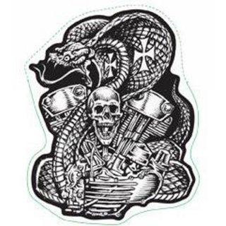 Aufkleber Airbrush Schlange Motor Maschine Helm Skull Sticker 8 x 6,3 cm